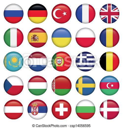 bandeiras européias, redondo, ícones - csp14056595