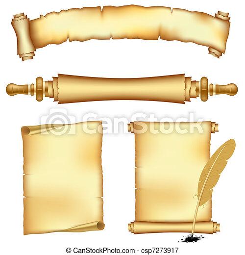bandeiras, scroll, papeis - csp7273917