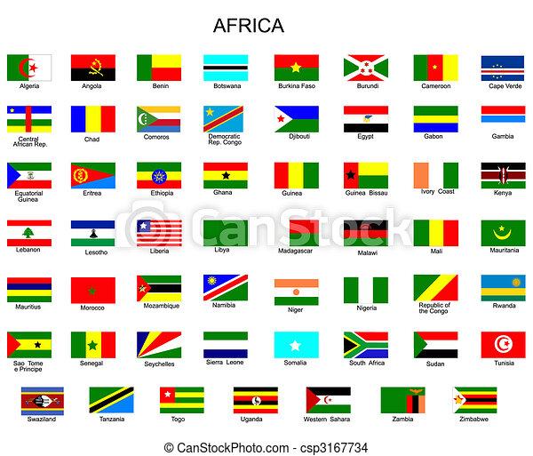 bandeiras, tudo, lista, áfrica, países - csp3167734
