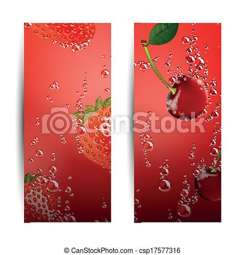 bandeiras, vetorial, fruta - csp17577316