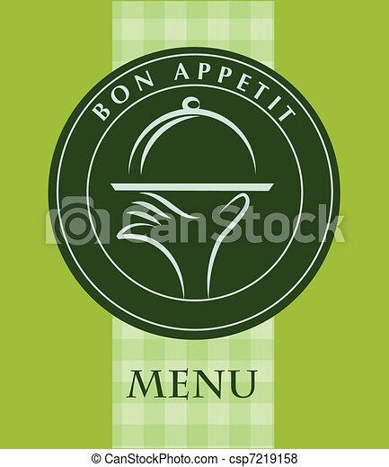 Mano sosteniendo una bandeja de comida, plantilla del menú - csp7219158