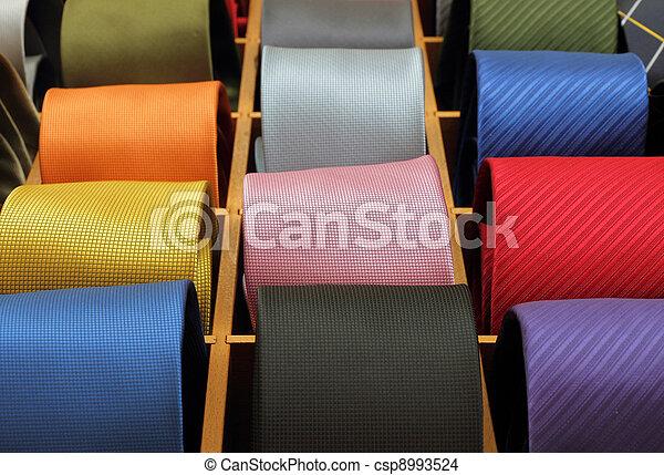 banden, zijde, kleurrijke, hals, verzameling - csp8993524