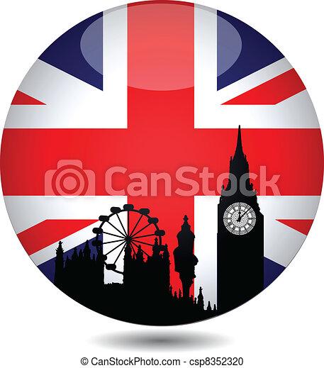 Botón de bandera británica - csp8352320