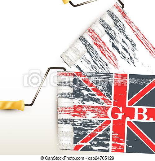 Bandera, británico. Británico, impresión, bandera, vector, plano de ...