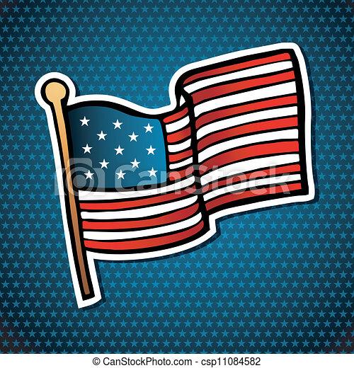 Bandera Caricatura Estados Unidos De América