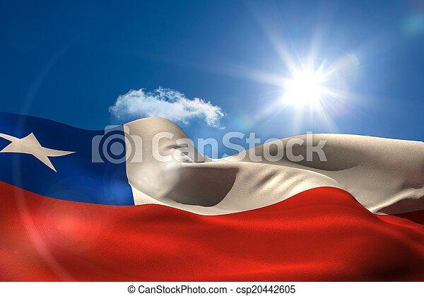 Bandera nacional Chile bajo el cielo soleado - csp20442605