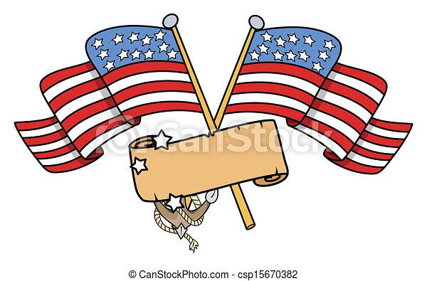 Cruzó banderas americanas con estandarte - csp15670382