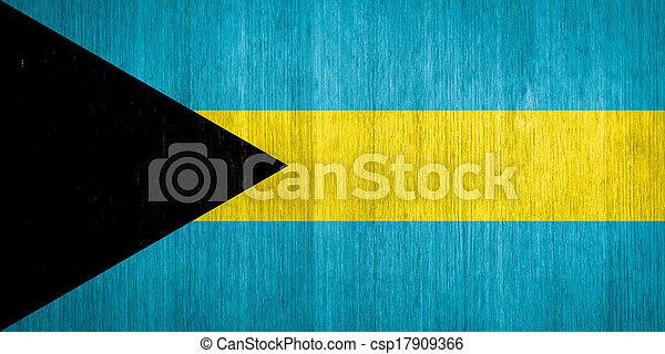 Bandera de Bahamas en el fondo de madera - csp17909366