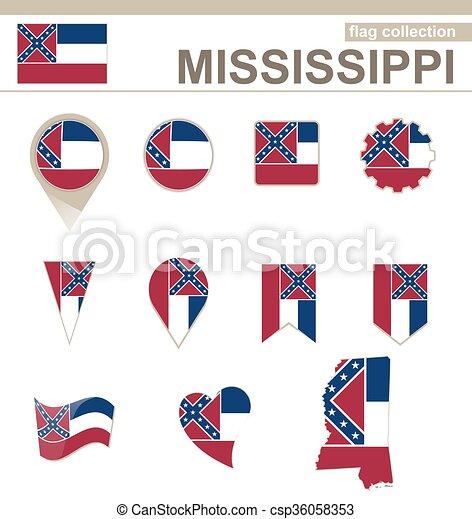 Bandera de mississippi, colección. Misisipí, 12, estados unidos de ...