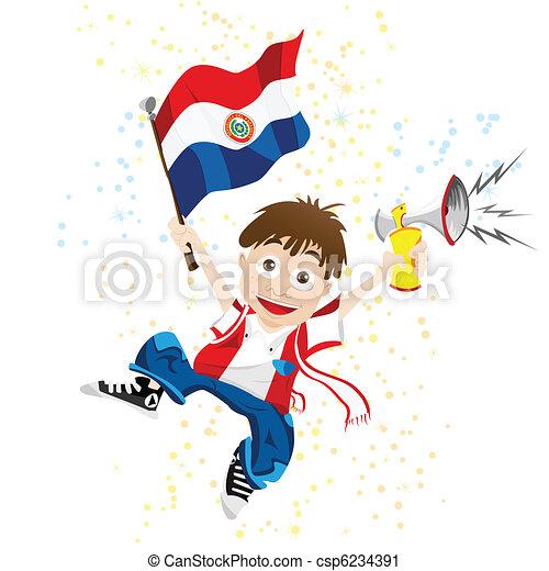 Fanático del deporte de Paraguay con bandera y cuerno - csp6234391
