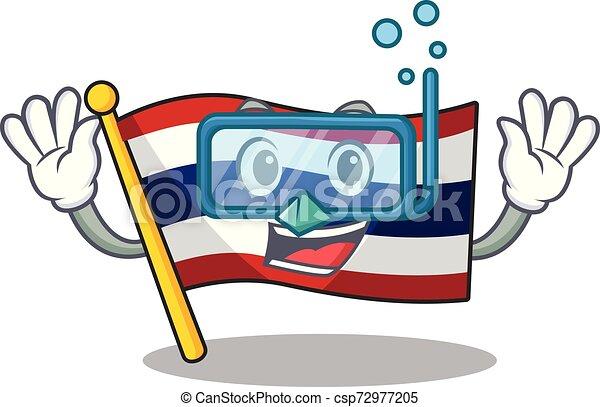 Inmersión de bandera tailandesa aislada con el personaje - csp72977205