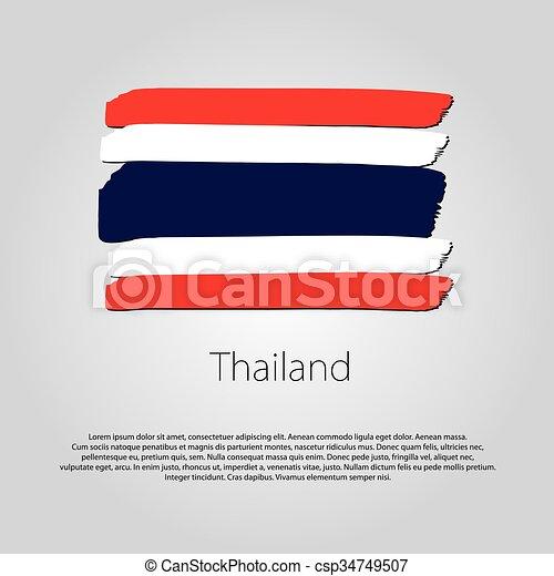Bandera De Tailandia Coloreado Formato Lineas Mano