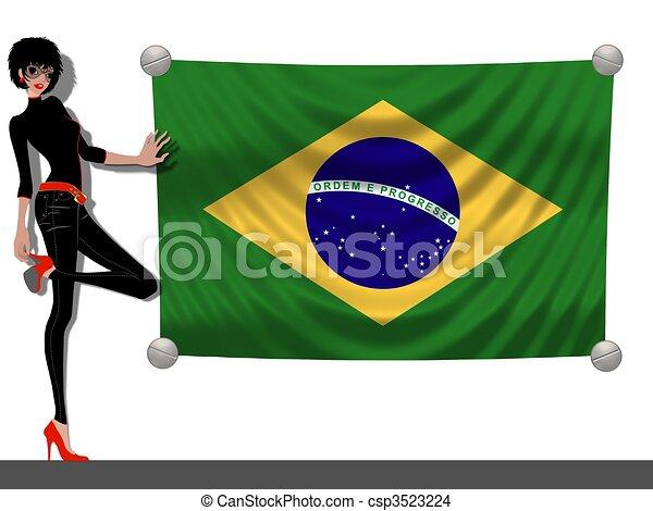 Una chica con una bandera de Brasil - csp3523224