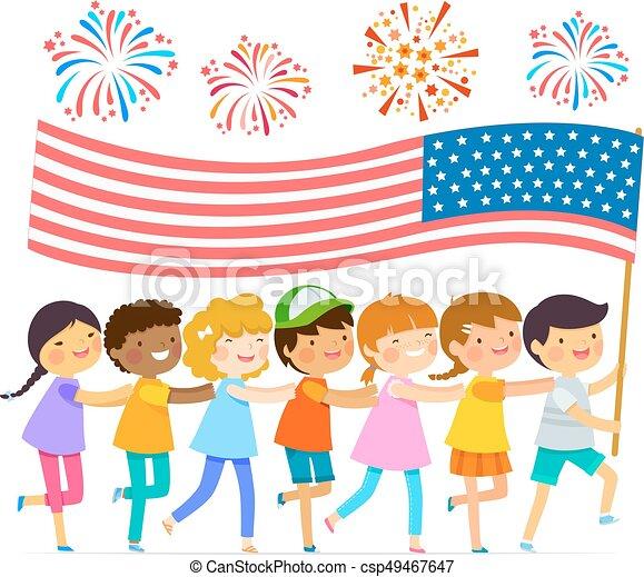 bandera, dzieciaki, amerykanka - csp49467647