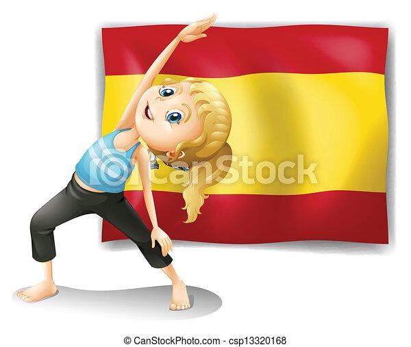 La bandera de españa detrás de una chica. La ilustración de la ...
