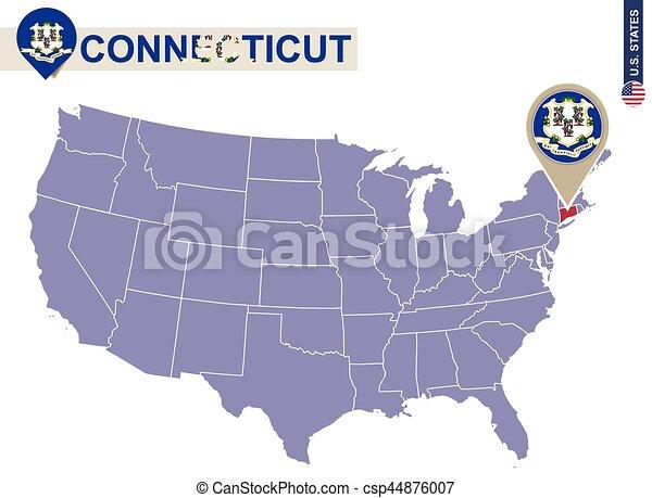 Estado de connecticut en el mapa de usa. bandera y mapa de ...
