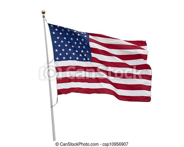 Una bandera americana aislada en blanco - csp10956907