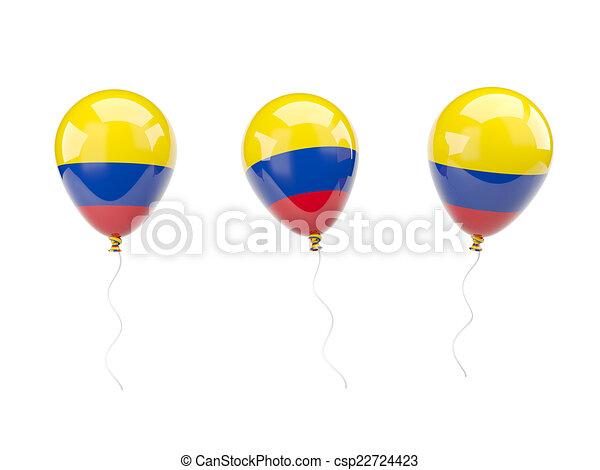 Bandera, globos, colombia, aire. Aislado, aire, bandera,... clip art ...