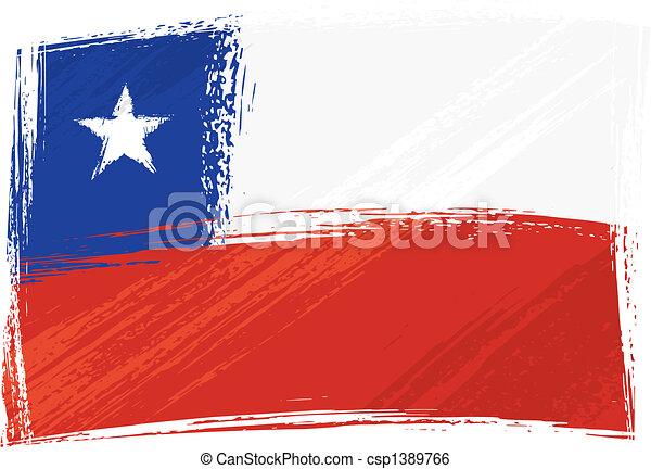 bandera, grunge, chile - csp1389766