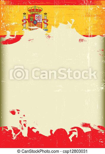 bandera, grunge, españa - csp12803031