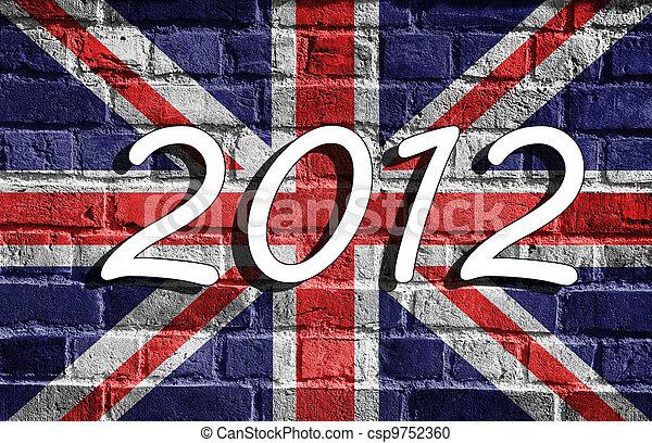 Bandera británica, Londres 2012, grunge - csp9752360