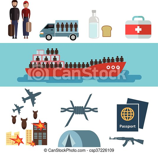 Refugiado. Vector. El concepto de víctimas de guerra. Los elementos infográficos. Diseño de dibujos de personajes de dibujos de iconos planos. Banner cabezaer. Ilustración. Aislado en fondo blanco y azul. - csp37226109