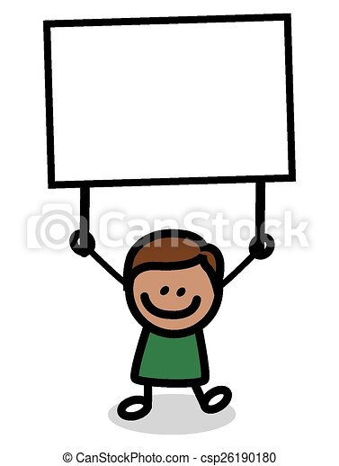 Ilustración de niño con pancarta - csp26190180