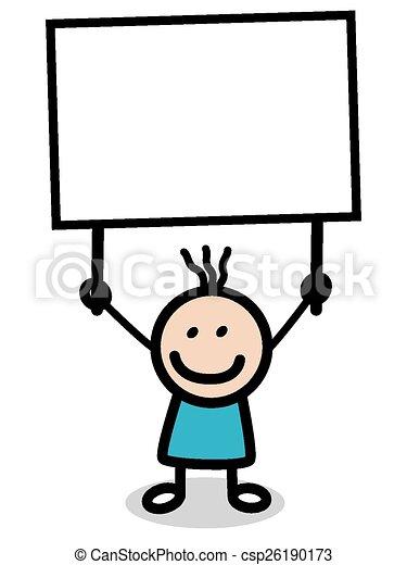 Ilustración de niño con pancarta - csp26190173