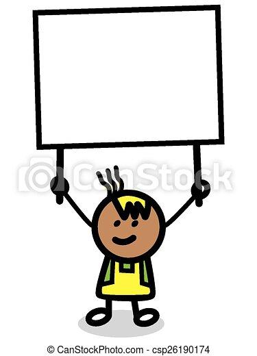 Ilustración de niño con pancarta - csp26190174