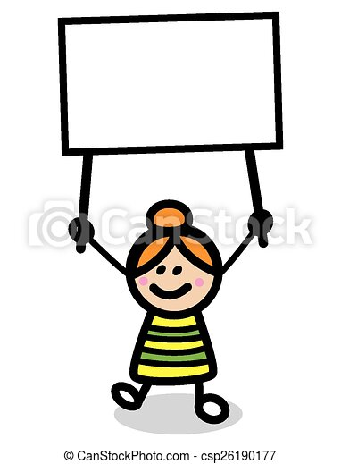 Ilustración de niño con pancarta - csp26190177