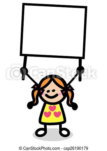 Ilustración de niño con pancarta - csp26190179