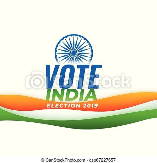 Vota a la elección de la India con bandera india - csp67227657