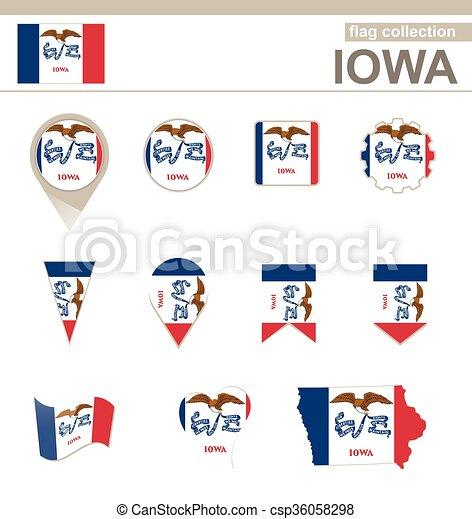 Bandera, iowa, colección. 12, iowa, estados unidos de américa ...