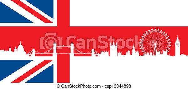 Bandera británica con horizonte de Londres - csp13344898