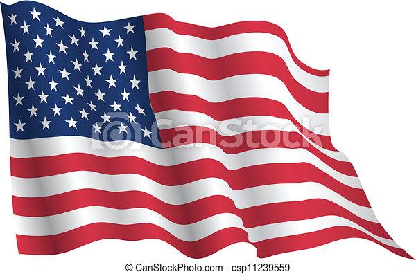Bandera Ondeante Estados Unidos De América