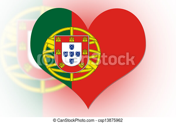 Corazón de la bandera portuguesa - csp13875962
