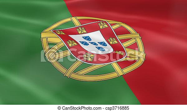 Bandera portuguesa en el viento - csp3716885