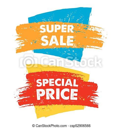Superventa y precio especial en bandera dibujada, vector - csp52906566