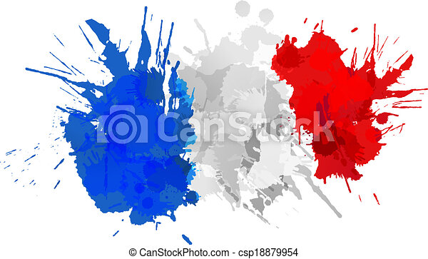 bandera, robiony, francuski, barwny, plamy - csp18879954
