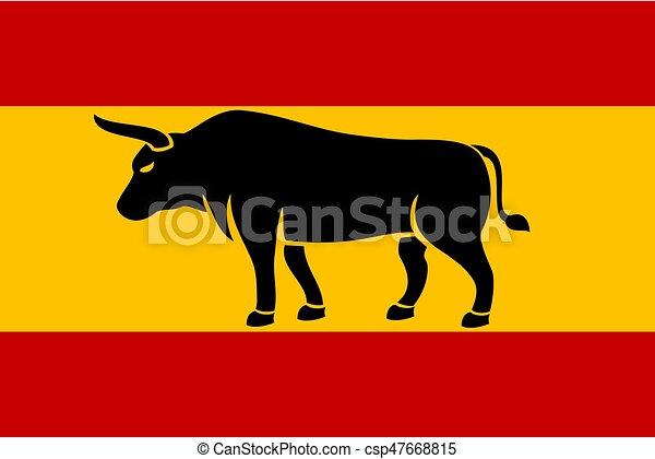La silueta de un toro en la bandera de España - csp47668815