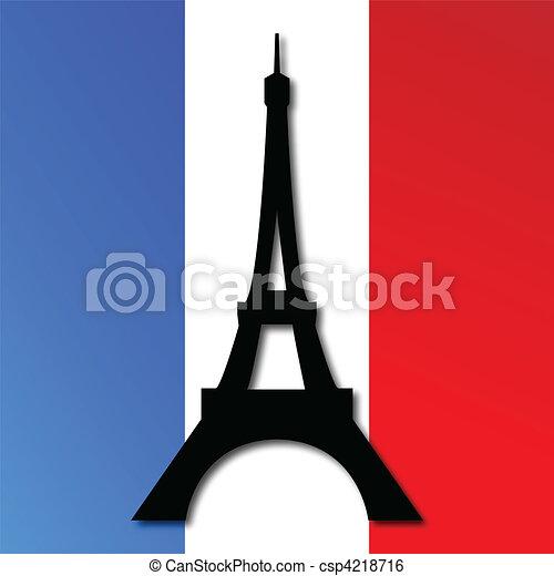 Torre Eiffel en una bandera francesa - csp4218716