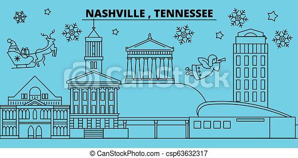 Estados Unidos, Nashville, vacaciones de invierno. Feliz Navidad, feliz año nuevo estandarte condecorado con Santa Claus. Estados unidos, vectores de Navidad lineales de la ciudad de Nashville - csp63632317