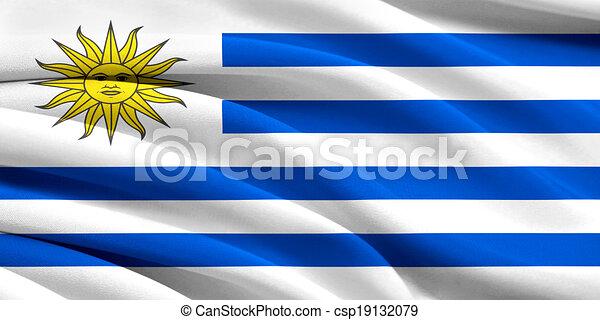 Uruguay Pequeño Mano Bandera Ondulante