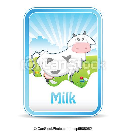 Vaca en pancarta de leche - csp9508062