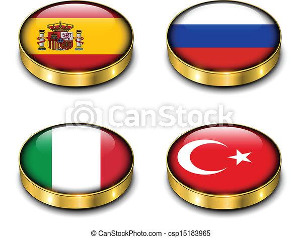 Botón de banderas 3D - csp15183965