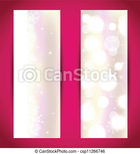 Pon estandartes de Navidad con copos de nieve - csp11266746