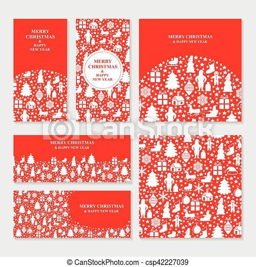 Estandartes rojos de Navidad - csp42227039