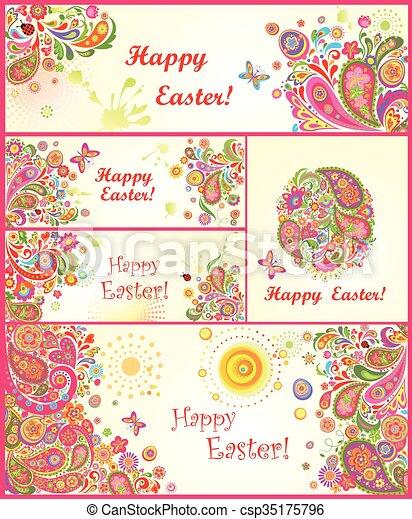 Un conjunto de banderas coloridas de Easter - csp35175796