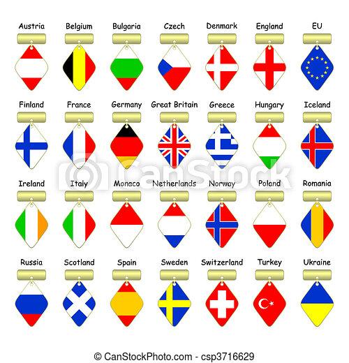 Grficos vectoriales EPS de banderas countries europeo  Flags