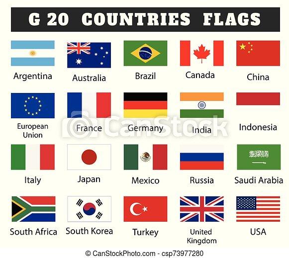 Banderas Dibujo Ilustración G Países 20 Miembro Banderas Dibujo Ilustración Collection G Países 20 Miembro Canstock